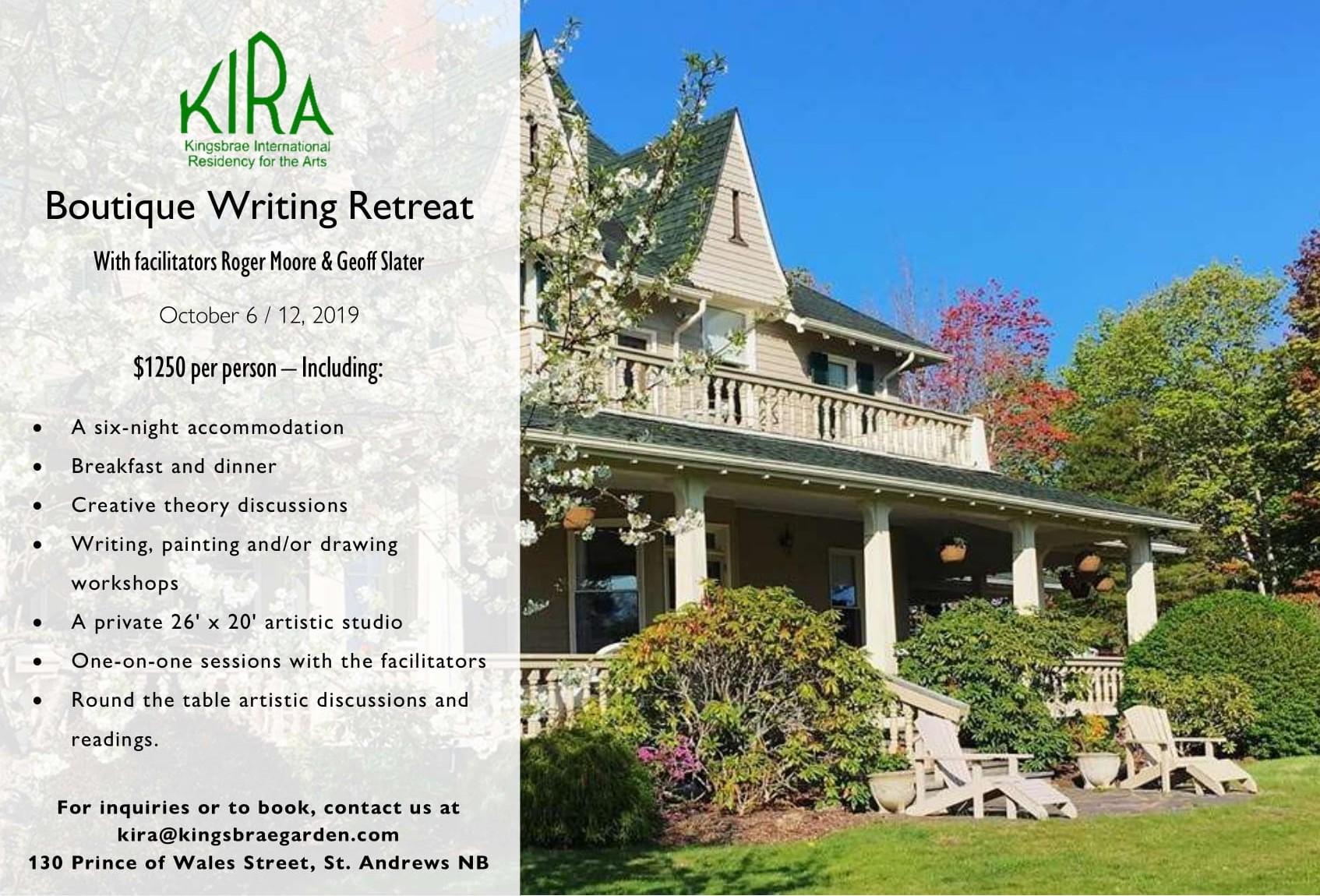 KIRA Boutique Writing Retreat Advertisement